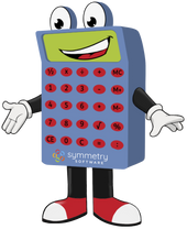 Symmetry mascot Buttons the Calculator