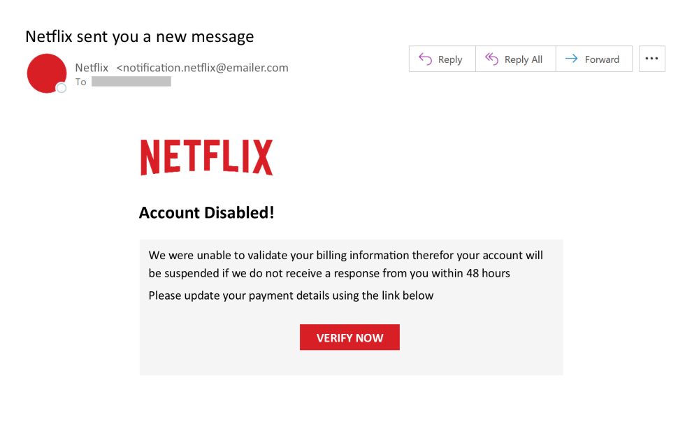 Netflix email threat example with subject line account disabled.